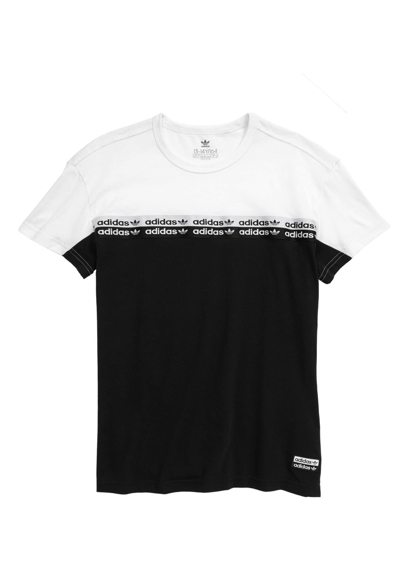 adidas Originals Logo Stripe T-Shirt (Big Boys)