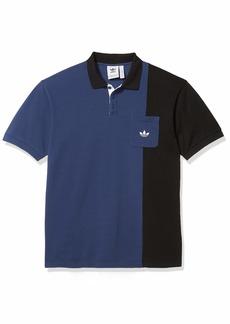 adidas Originals Men's Piped Polo Shirt Tech Indigo/Black/Glory Amber S