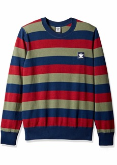 adidas Originals Men's Skateboarding Striped Sweater Navy/Collegiate Burgundy/Base Green S