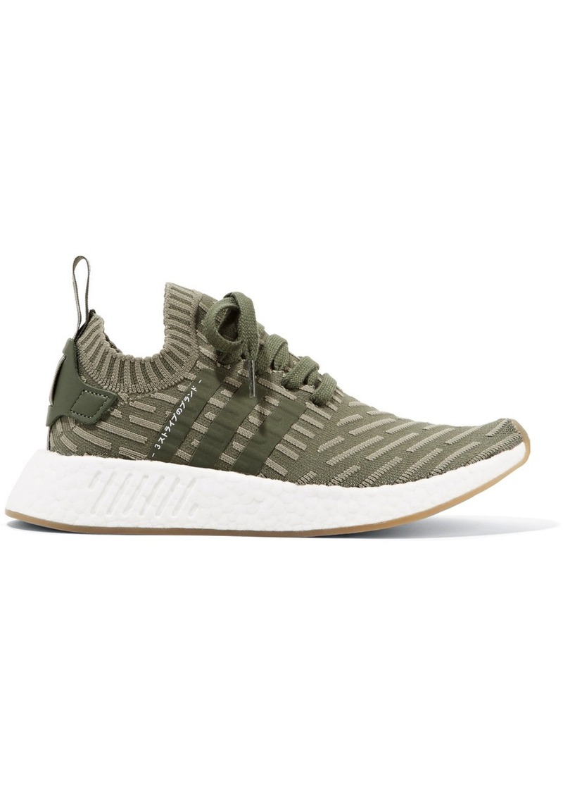 Adidas Nmd_r2 Leather-trimmed Primeknit Sneakers