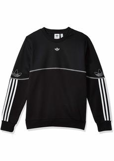 adidas Originals Outline Crew Neck Sweatshirt (Long Sleeve) Black/White/Silver Met. XL