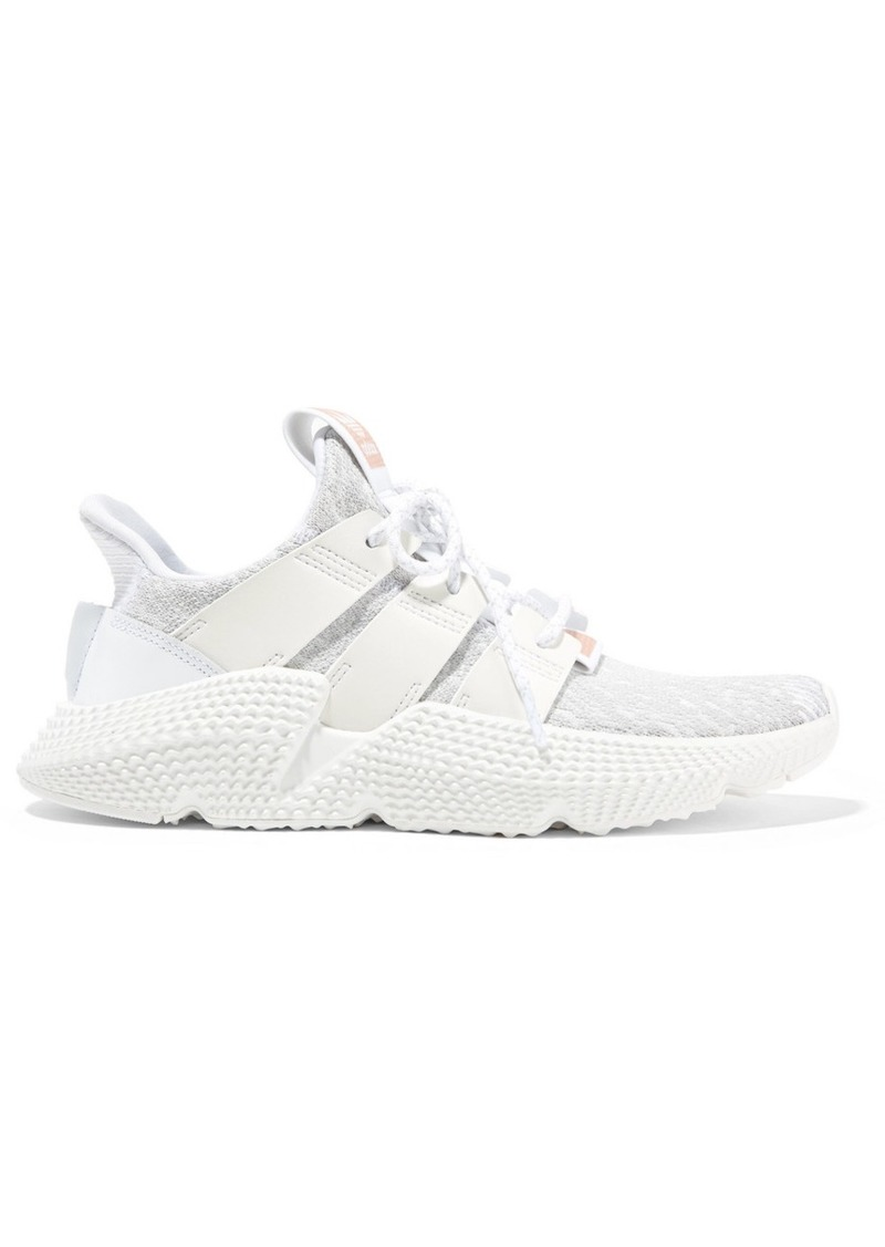 size 40 fe909 6c7e1 Adidas Prophere faux leather and rubber-trimmed stretch-knit sneakers