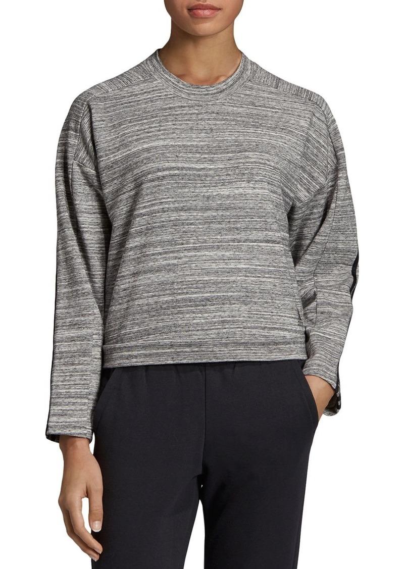 adidas Originals Triple Stripe Melange Cropped Sweatshirt