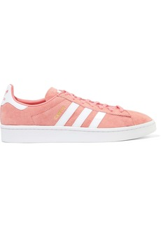 Adidas Originals Woman Campus Leather-trimmed Suede Sneakers Coral