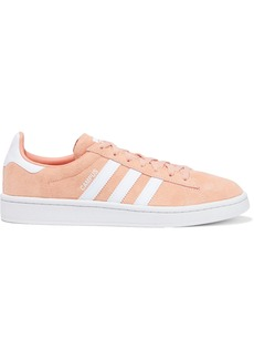 Adidas Originals Woman Campus Leather-trimmed Suede Sneakers Peach