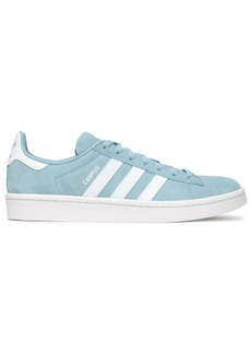 Adidas Originals Woman Campus Leather-trimmed Suede Sneakers Sky Blue