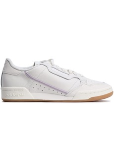 Adidas Originals Woman Continental 80 Grosgrain-trimmed Textured-leather Sneakers Ivory