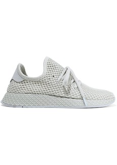 Adidas Originals Woman Deerupt Runner Snake-effect Leather-trimmed Mesh Sneakers Neutral