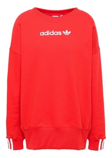 Adidas Originals Woman Embroidered Cotton-blend Fleece Sweatshirt Papaya