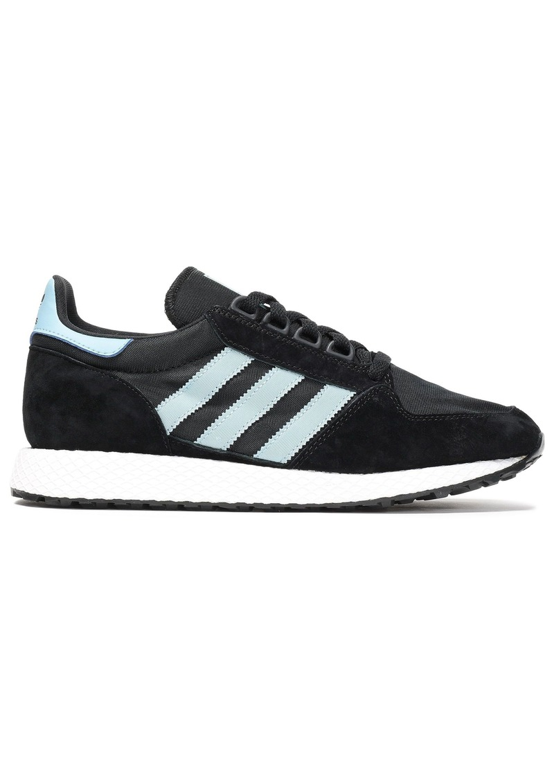 Adidas Originals Woman Forest Grove Shell-paneled Striped Suede Sneakers Black