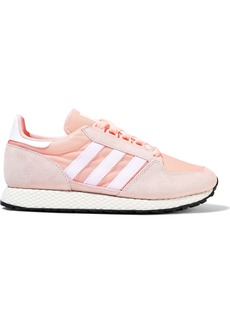 Adidas Originals Woman Forest Grove Striped Mesh And Suede Sneakers Antique Rose