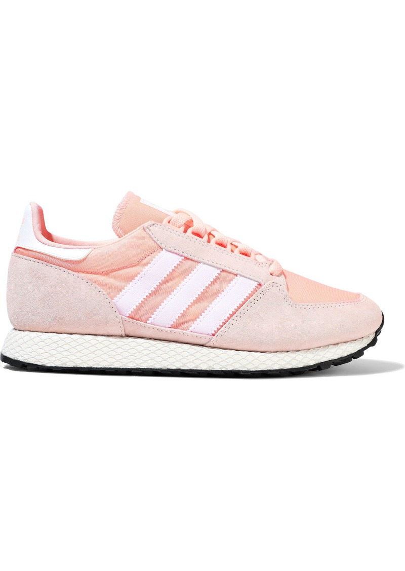 Adidas Originals Woman Forest Grove Shell And Suede Sneakers Antique Rose