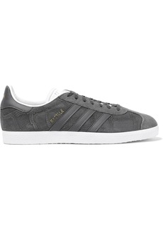 Adidas Originals Woman Gazelle Suede-paneled Snake-effect Nubuck Sneakers Gray