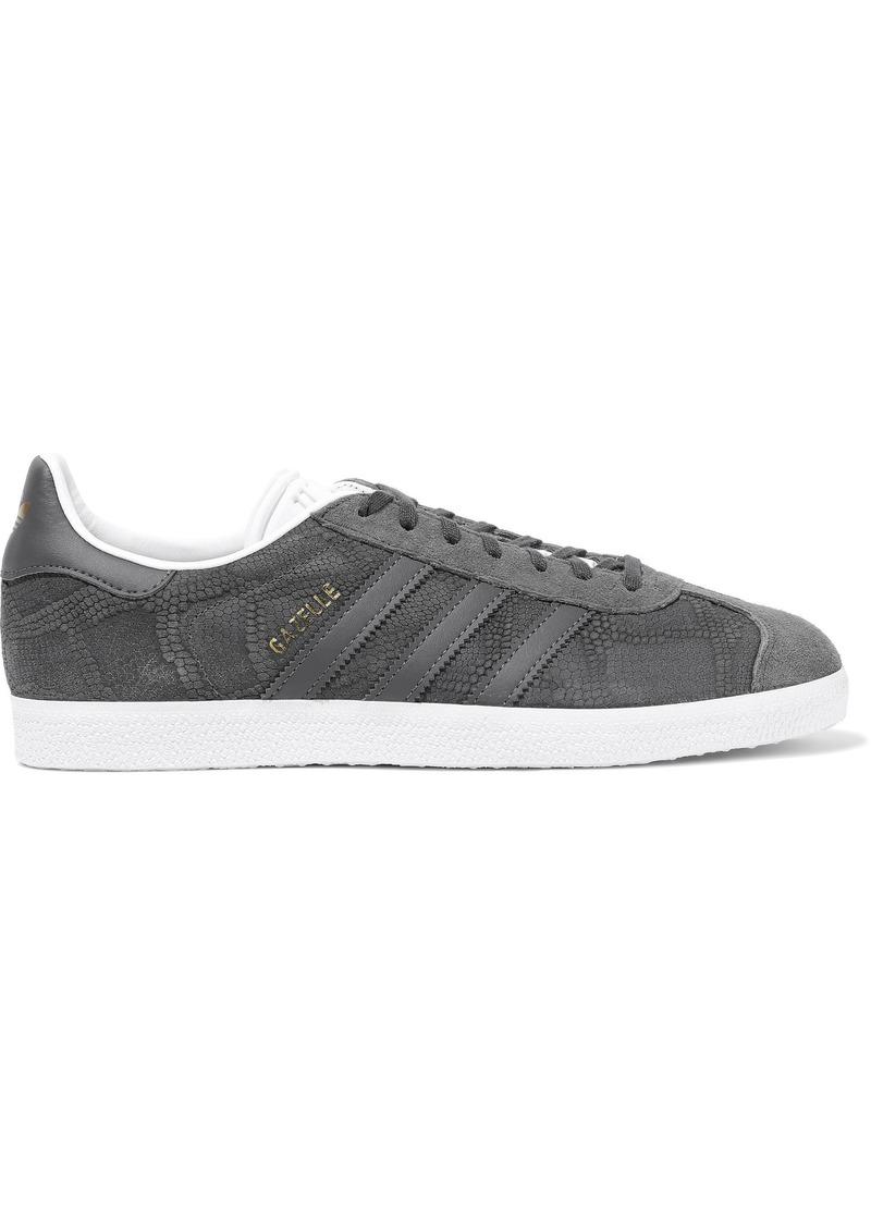 Adidas Originals Woman Gazelle Suede-paneled Snake-effect Nubuck Sneakers Gray