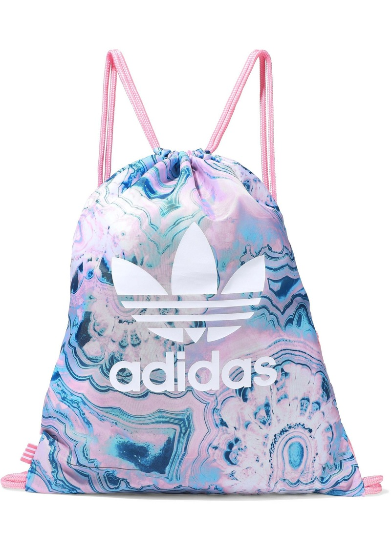 Adidas Originals Woman Gym Sack Logo-print Marbled Shell Backpack Baby Pink
