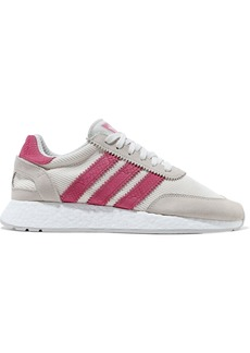 Adidas Originals Woman I-5923 Leather And Suede-trimmed Ribbed-knit Sneakers Ecru