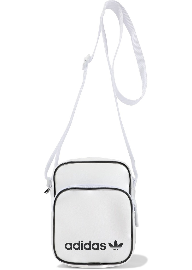 Adidas Originals Woman Mini Vintage Logo-print Faux Leather Shoulder Bag White