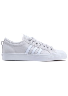 Adidas Originals Woman Nizza Leather-trimmed Canvas Sneakers Light Gray