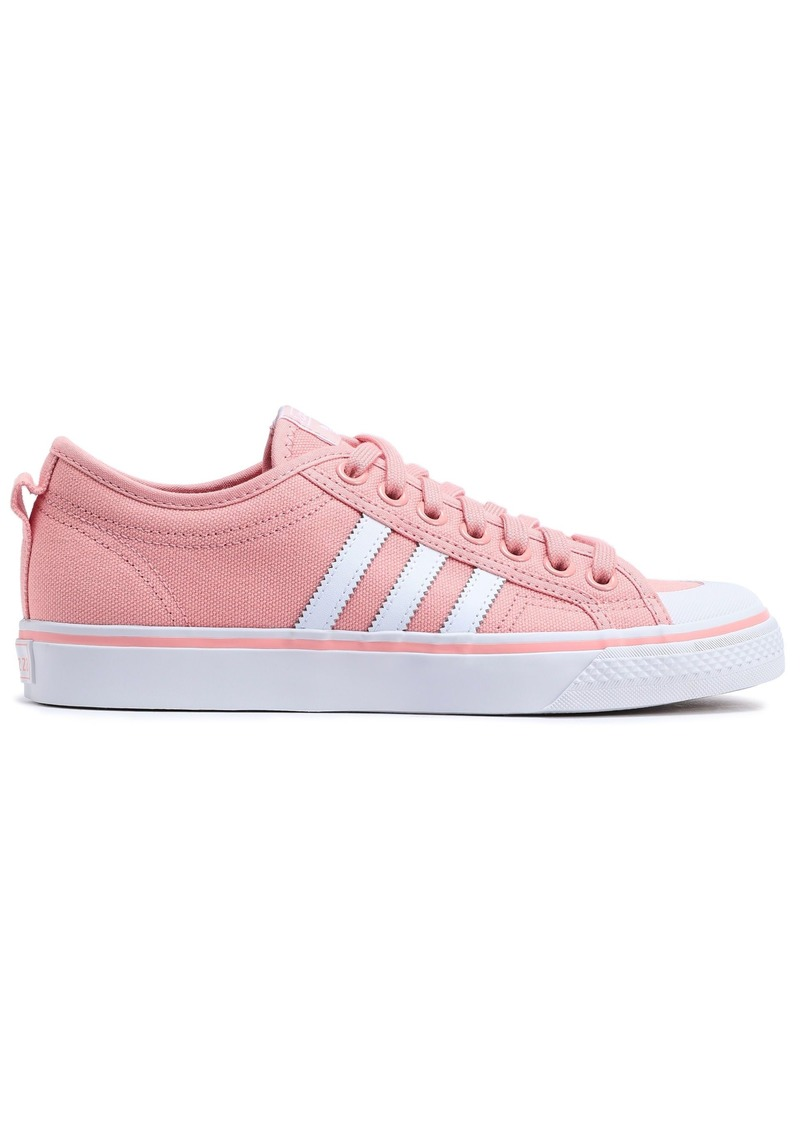 Adidas Originals Woman Nizza Leather-trimmed Canvas Sneakers Pastel Pink