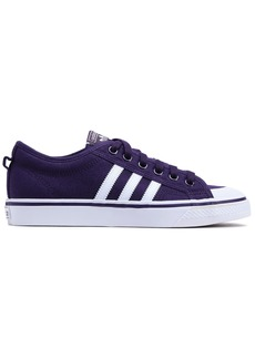 Adidas Originals Woman Nizza Leather-trimmed Canvas Sneakers Plum