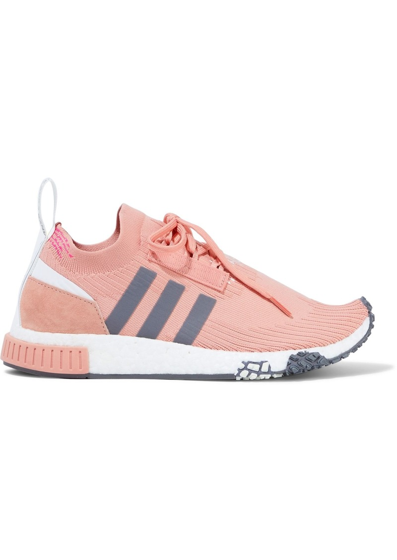 Adidas Originals Woman Nmd_racer Suede-trimmed Stretch-knit Sneakers Baby Pink