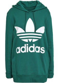 Adidas Originals Woman Oversized Printed French Cotton-terry Hoodie Emerald