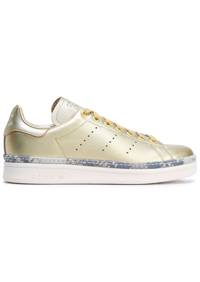 Adidas Originals Woman Stan Smith New Bold Perforated Metallic Leather Sneakers Gold