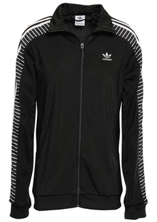 Adidas Originals Woman Striped Tech-jersey Track Jacket Black