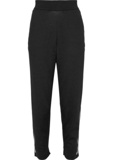 Adidas Originals Woman Striped Perforated Jersey Track Pants Black