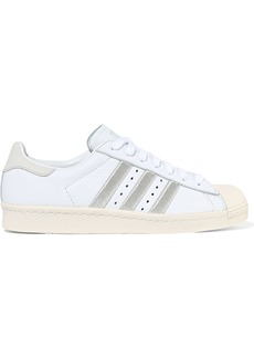 Adidas Originals Woman Superstar 80s Embroidered Textured-leather Sneakers Ecru