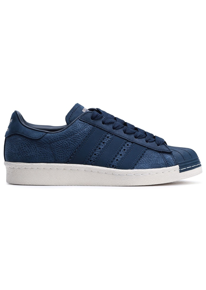 Adidas Originals Woman Superstar 80s Textured-nubuck Sneakers Navy