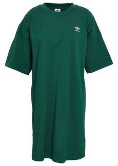 Adidas Originals Woman Trefoil Printed Cotton-jersey Dress Emerald