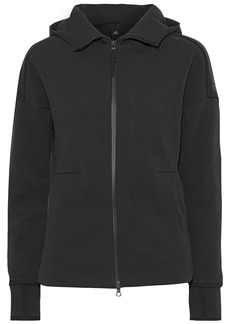 Adidas Originals Woman Z.n.e. Embossed Cotton-blend Hooded Sweatshirt Charcoal