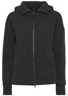 Adidas Originals Woman Z.n.e. Embossed Cotton-blend Hooded Sweatshirt Charcoal