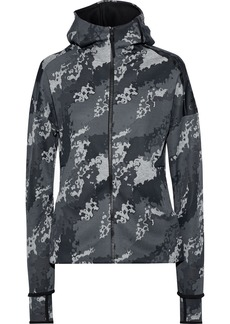 Adidas Originals Woman Z.n.e. Printed Jersey Hooded Track Jacket Gray