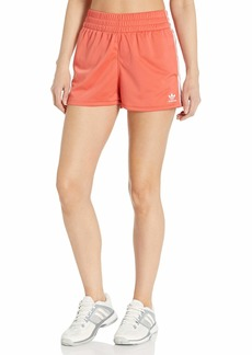 adidas Originals Women's 3 Stripe Shorts Trace Scarlet S18/White XS
