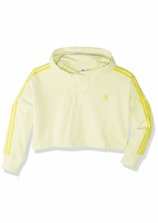 adidas Originals Women's Cropped Hooded Sweatshirt ice yellow