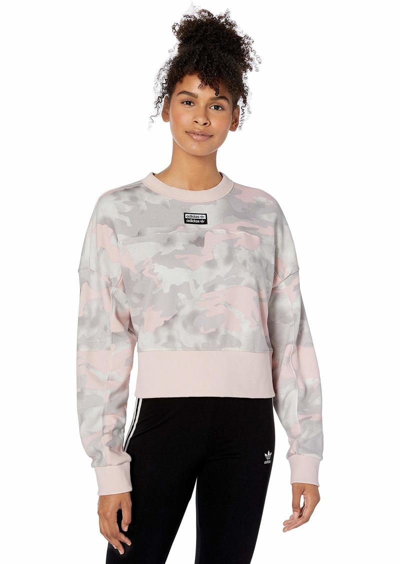 adidas Originals Women's Cropped Sweater Sweatshirt chalk White/light granite/grey/Desert pink