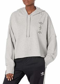 adidas Originals Women's Large Logo Cropped Hoodie Medium Gray Heather/True Pink