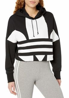 adidas Originals Women's Large Logo Cropped Hoodie Sweatshirt  S