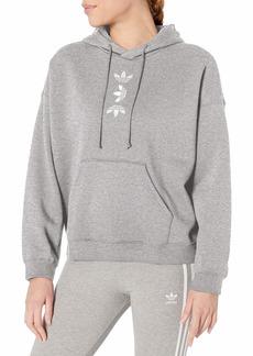 adidas Originals Women's Large Logo Hoodie Sweatshirt Medium Grey Heather/White S