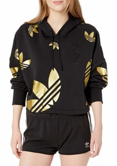 adidas Originals Women's Large Logo Cropped Hoodie Sweatshirt Black/Gold MET S