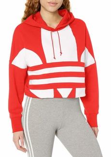 adidas Originals Women's  Logo Cropped Hoodie Sweatshirt  L