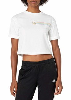adidas Originals womens Pride Linear Cropped Tee