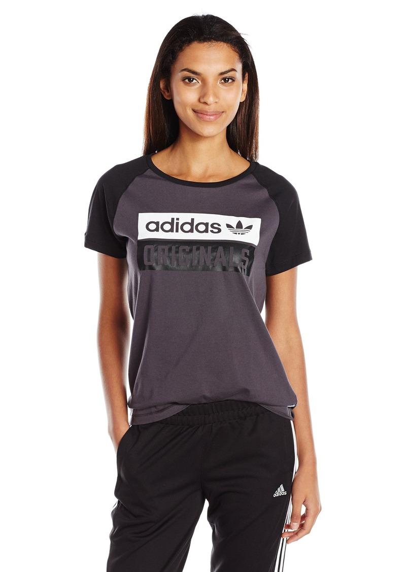 adidas Originals Women's Raglan Tee Shadow Black/Black/White M