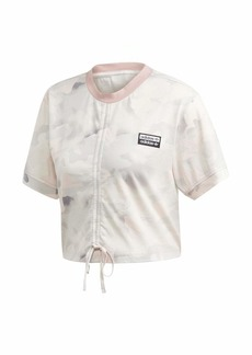 adidas Originals Women's Rouged All Over Print Tee chalk White/light granite/grey/Desert pink
