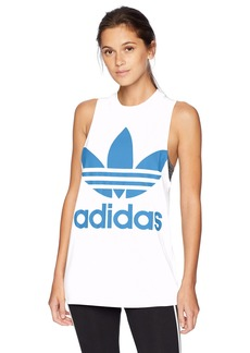 adidas Originals Women's Trefoil Tank Top White/Super Blue L