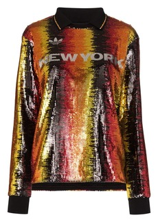 Adidas x Anna Isoniemi sequin striped football top