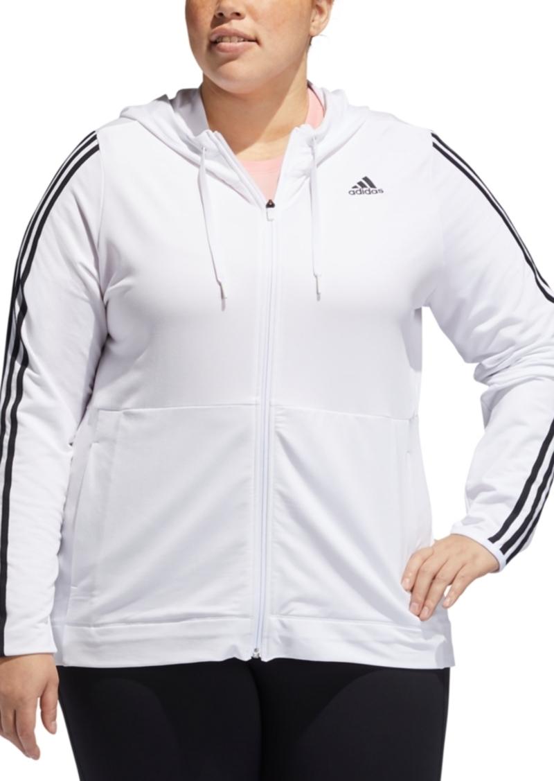 adidas Plus Size Striped Zip Hoodie