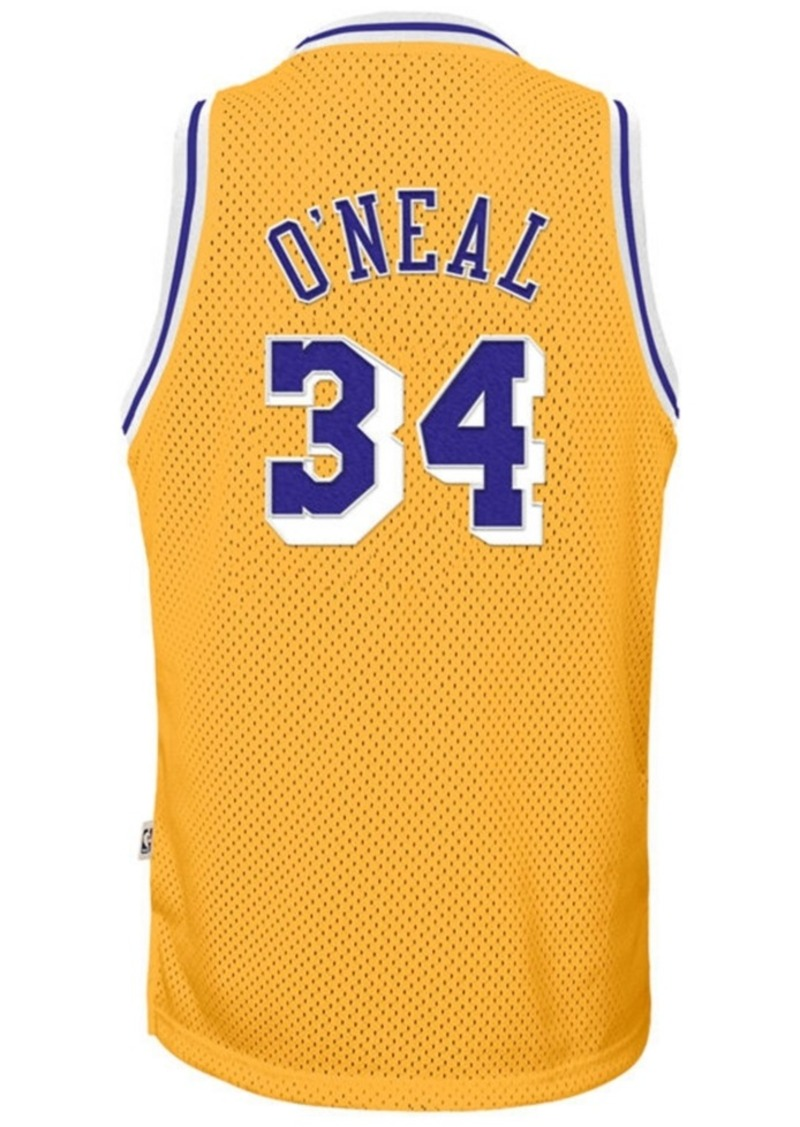 adidas Shaquille O'Neal Los Angeles Lakers Retired Player Swingman Jersey, Big Boys (8-20)